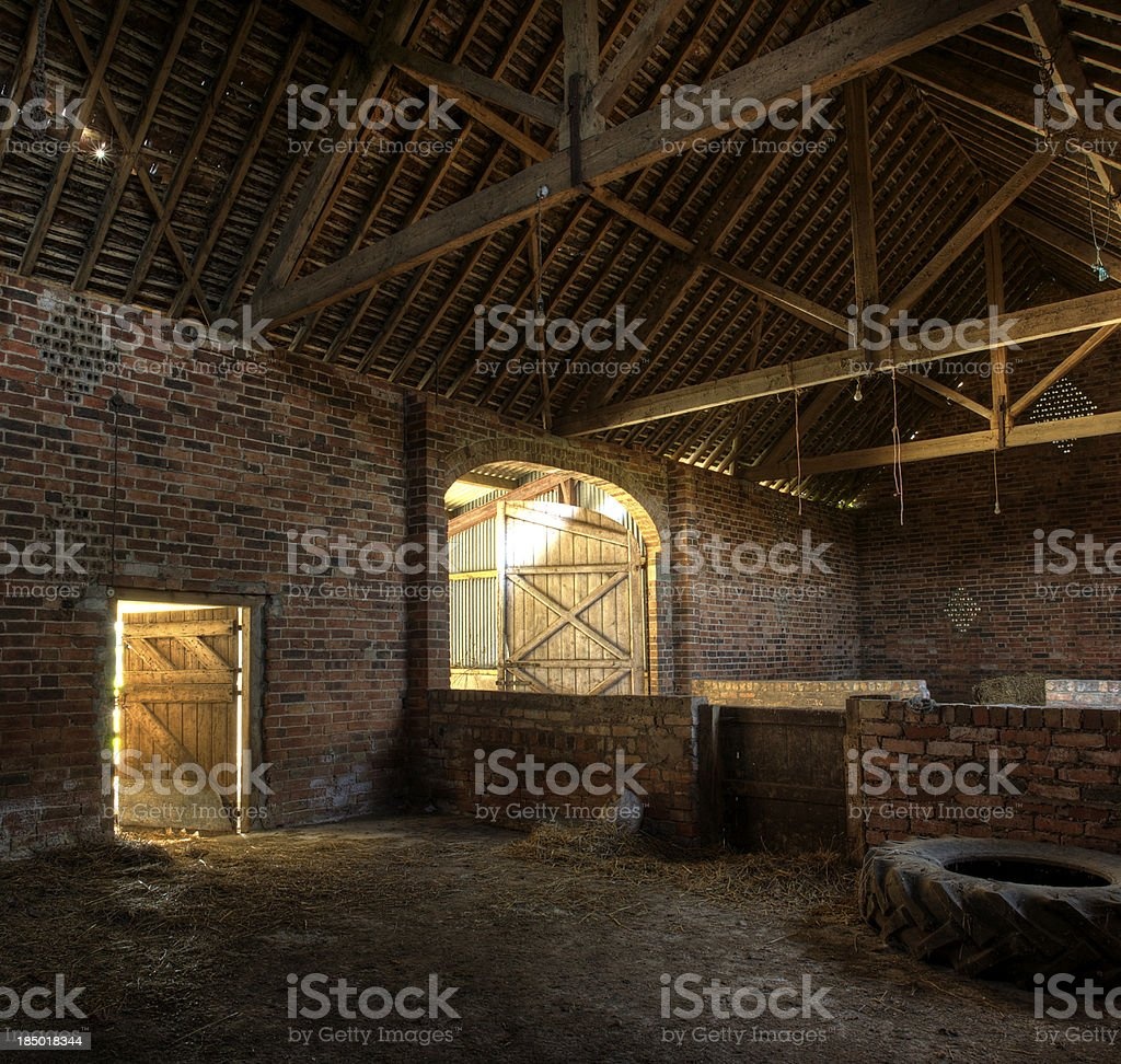 Hay barn interior stock photo