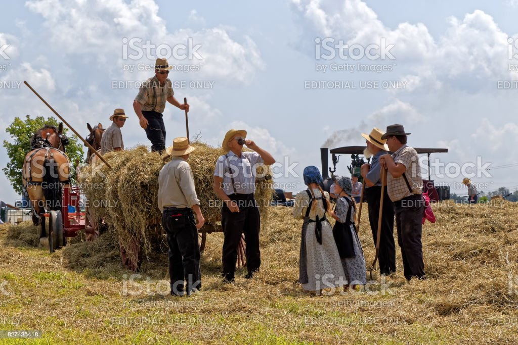 Hay Crew Takes a Water Break stock photo