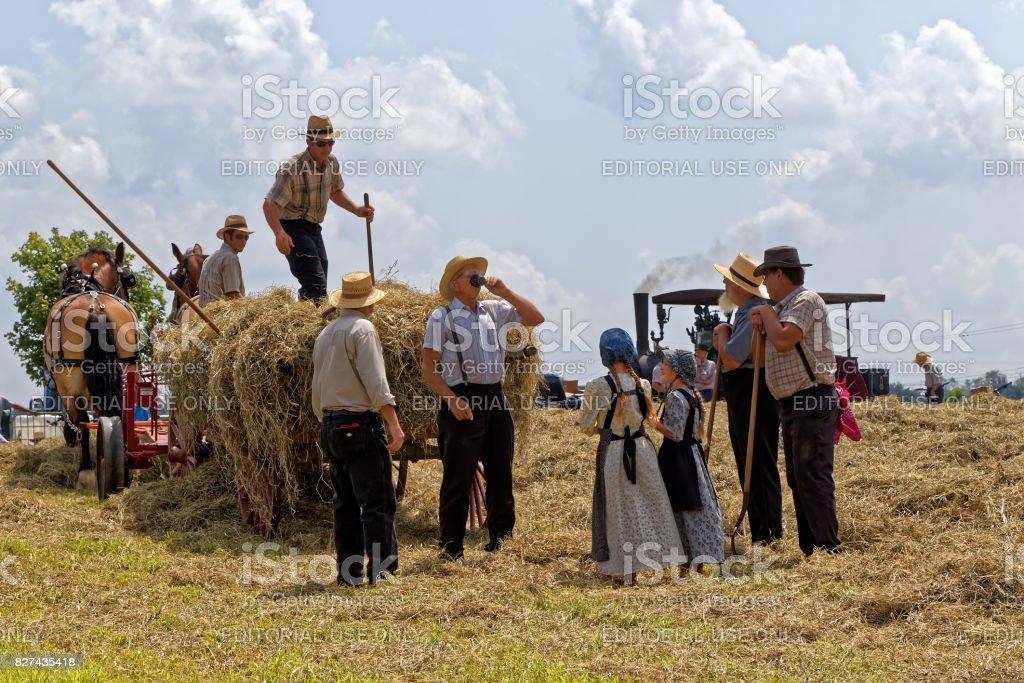 Hay Crew Takes a Water Break stock photo
