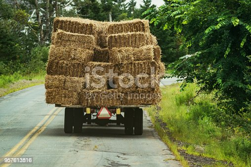 A farmer hauls a trailer stacked with hay in rural Nova Scotia.