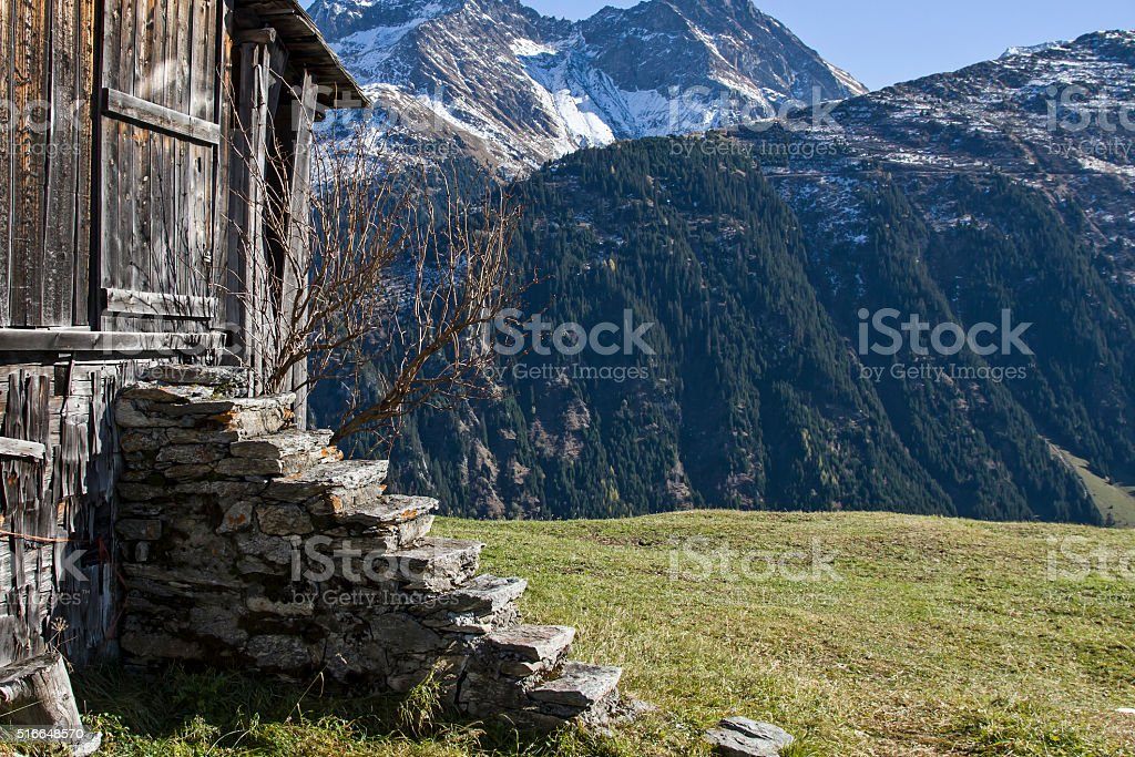 hay hut in Val Medel stock photo