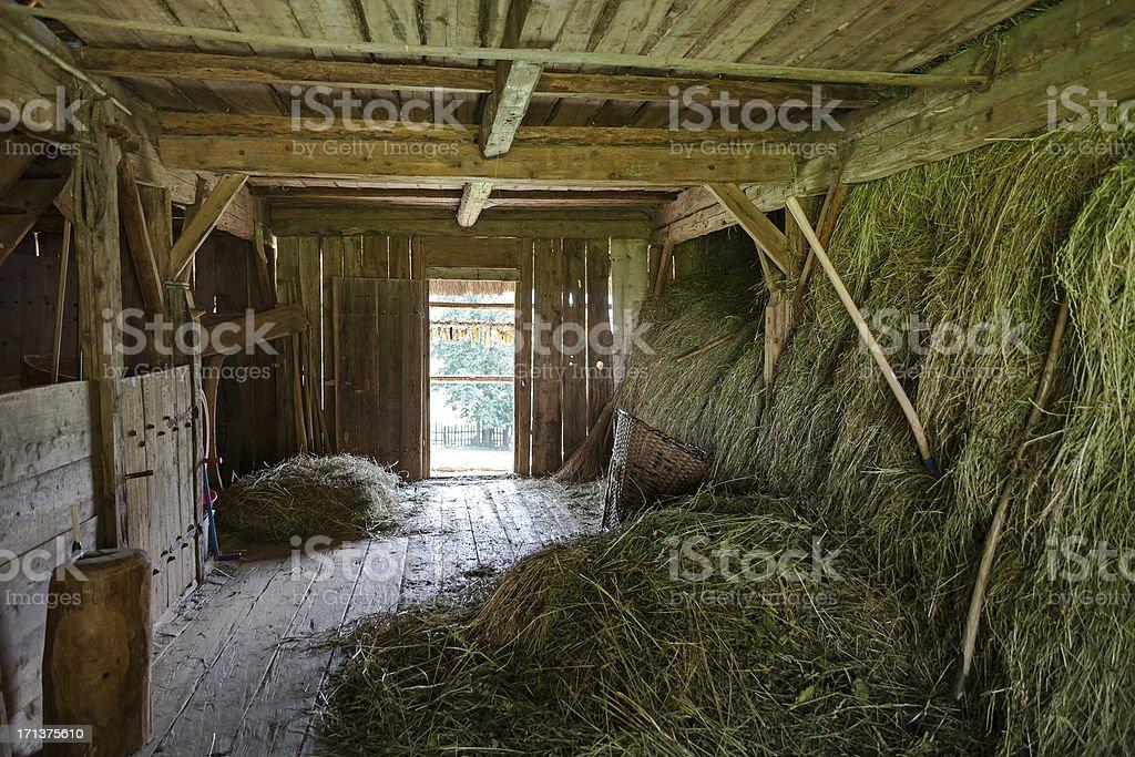 Hay in the barn stock photo