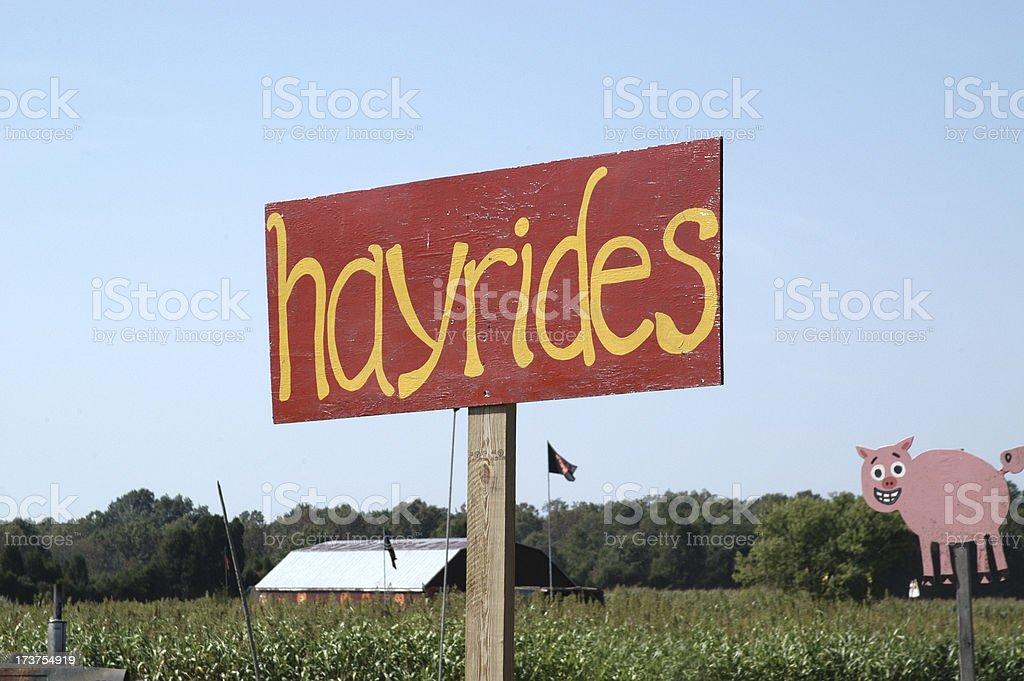 Hay Ride Sign stock photo