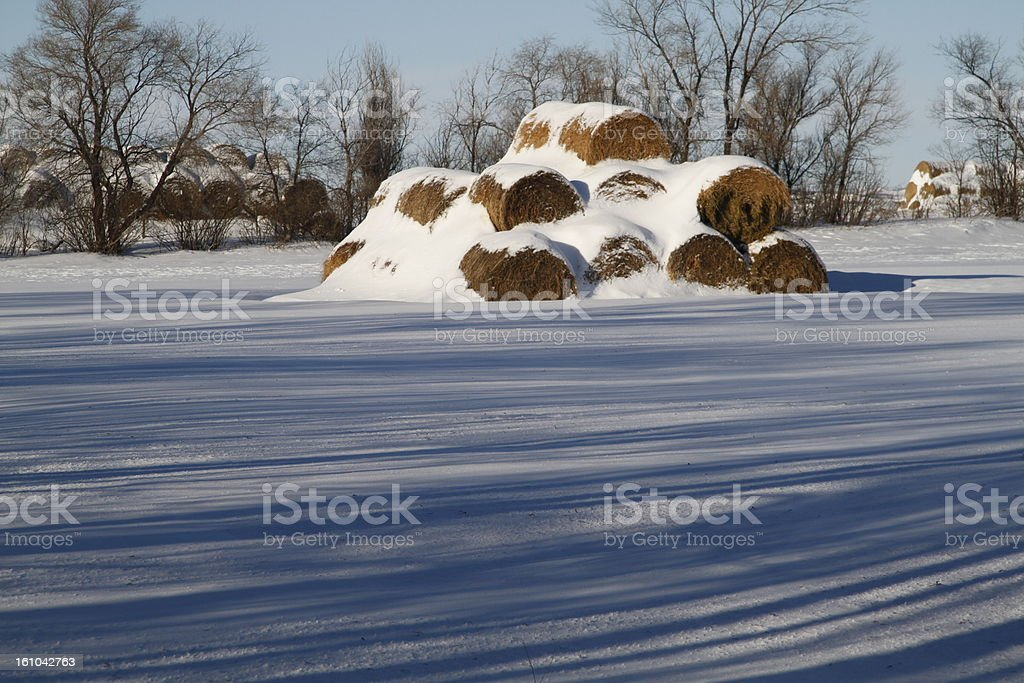 Hay stack with shadows in winter royalty-free stock photo