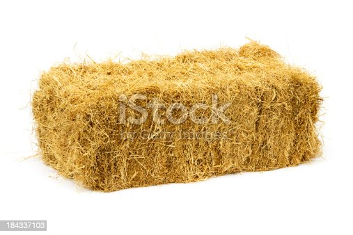 Golden square haybale isolated on white. They have always been known as square haybales in the agricultural community even though the sides are rectangular in shape. There are companion images: