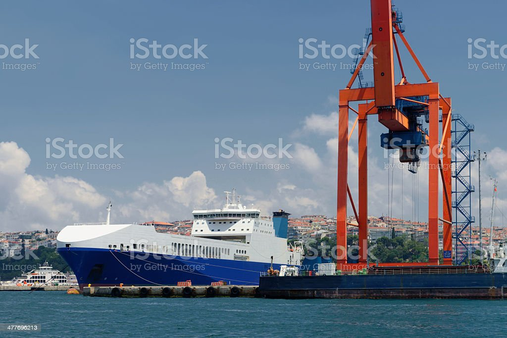Haydarpasa Commercial Dock and Container Crane royalty-free stock photo