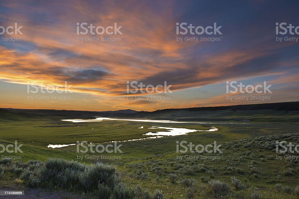 Hayden Valley Sunset in Yellowstone National Park stock photo
