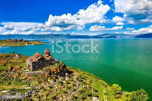 Aerial view of Hayravank monastery on the shores of lake Sevan in Armenia