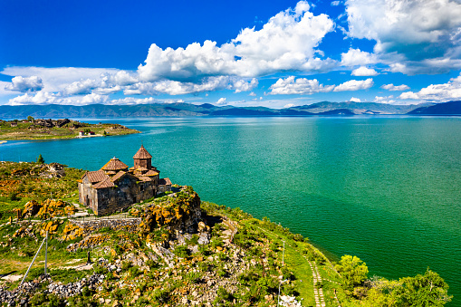 istock Hayravank monastery on the shores of lake Sevan in Armenia 1160098022