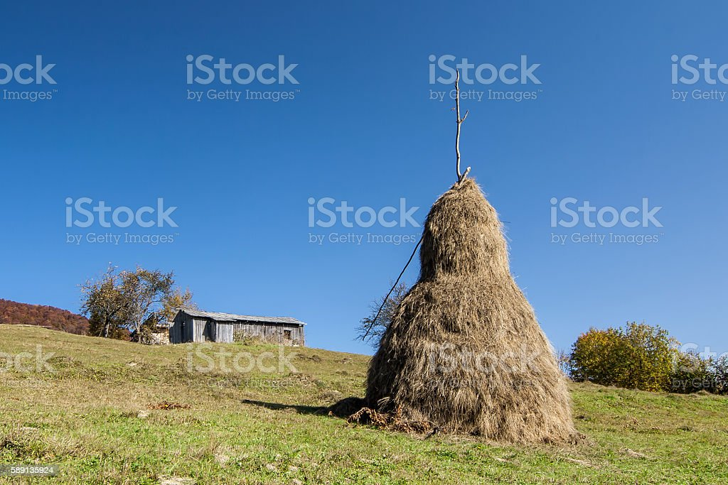 Haystack in countryside stock photo