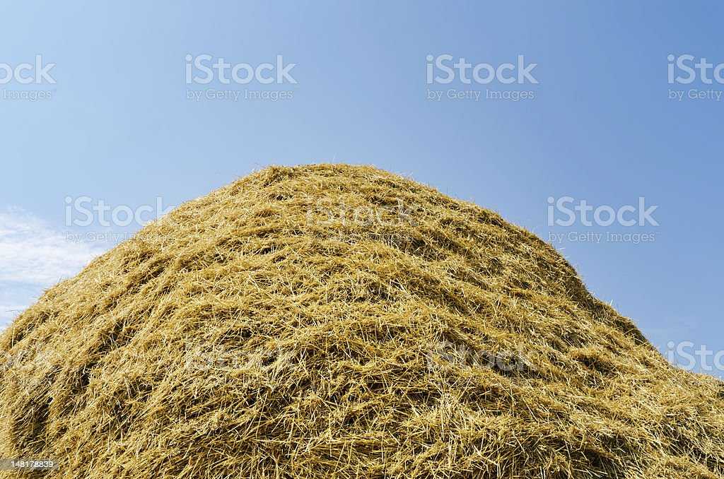haystack of straw heap under cloudy sky royalty-free stock photo