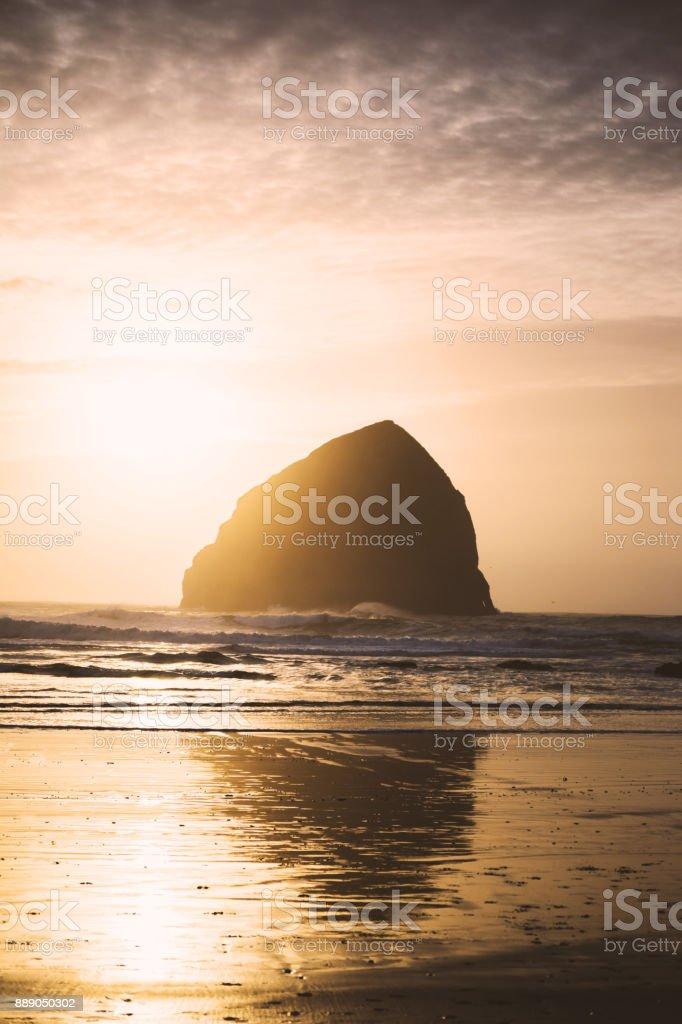 Haystack Rock at Cape Kiwanda stock photo