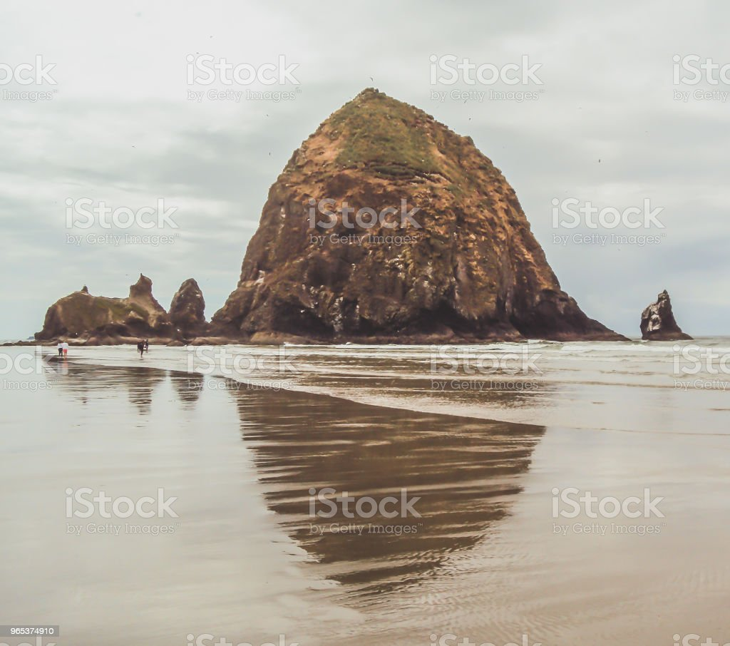 Haystack Rock on the Oregon Coast royalty-free stock photo
