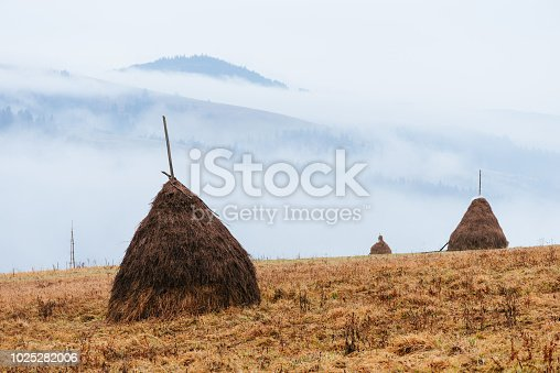 istock Haystacks in the mountains 1025282006