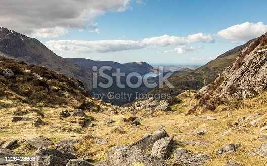 A view from the summit of Haystacks, situated at the south-eastern end of the Buttermere valley with views to Ennerdale Water, Buttermere, Lake District, Cumbria, England.