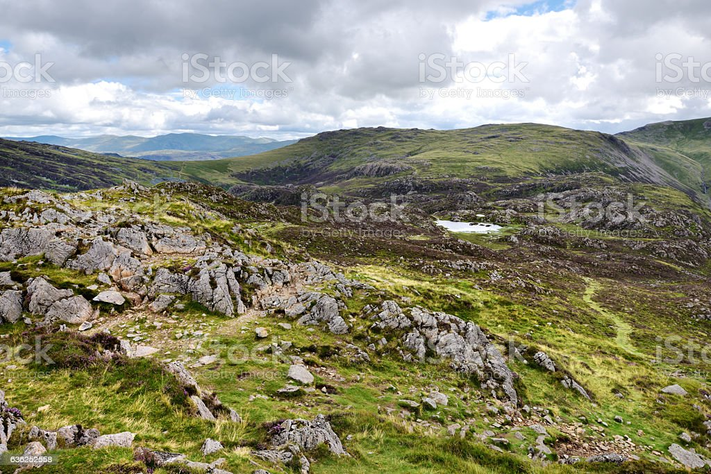 Haystacks to the Yorkshire fells stock photo
