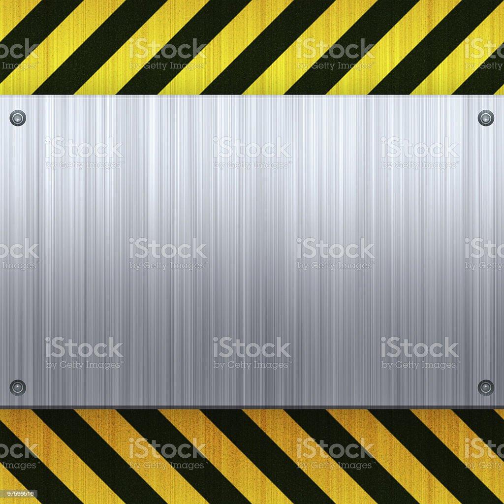 Hazard Stripes Brushed Metal stock photo