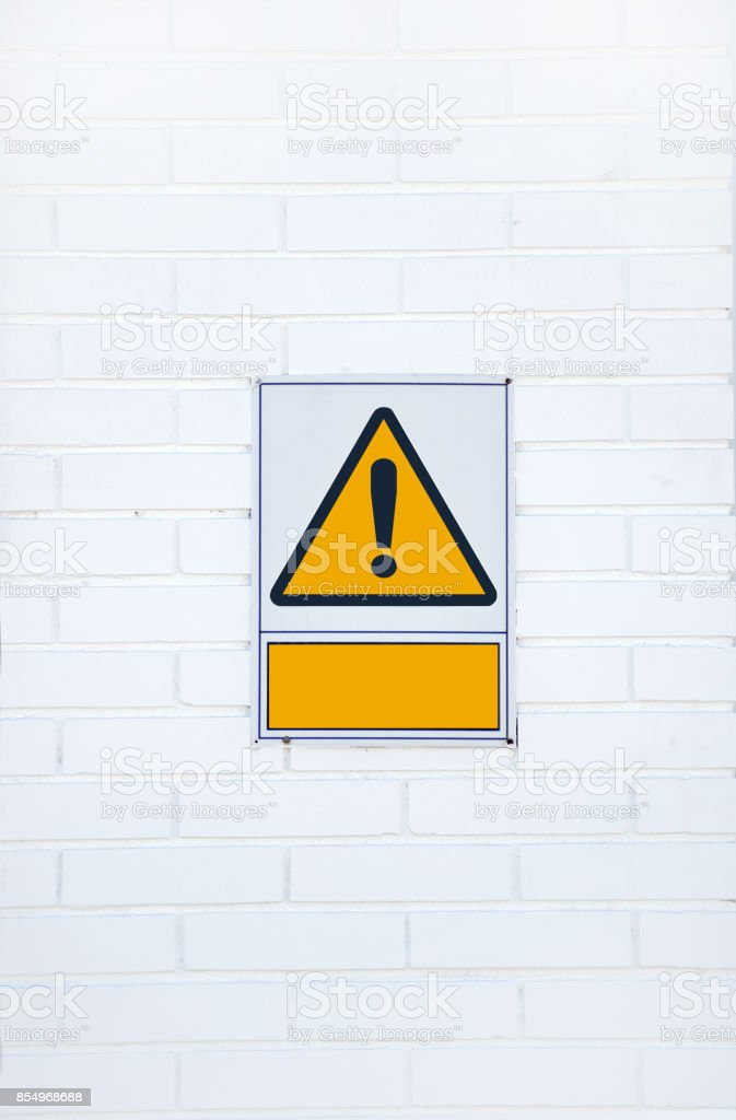 Hazard warning attention sign stock photo