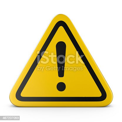 istock Hazard warning attention yellow sign with exclamation mark 467207053