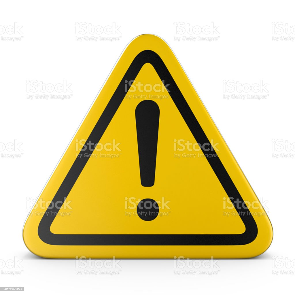 Hazard warning attention yellow sign with exclamation mark stock photo