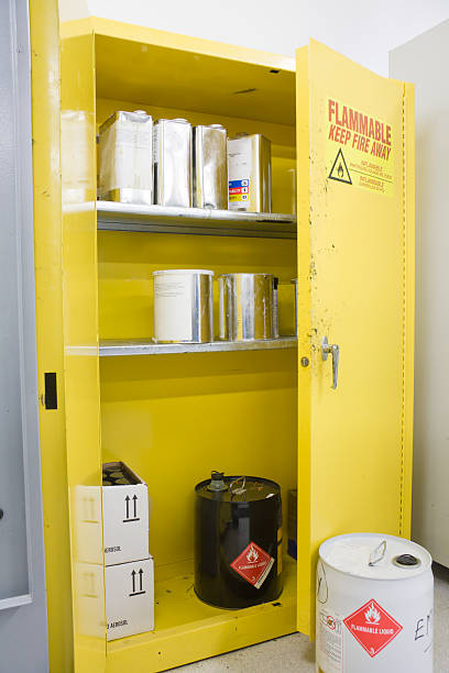 Hazardous Chemicals storage Locker with various Containers Inside  hazardous chemicals stock pictures, royalty-free photos & images