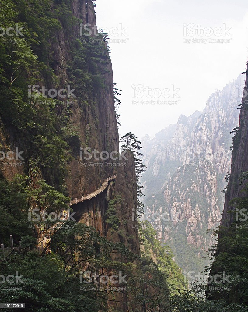 hazardous pathway over the precipice in Huang Shan, china stock photo