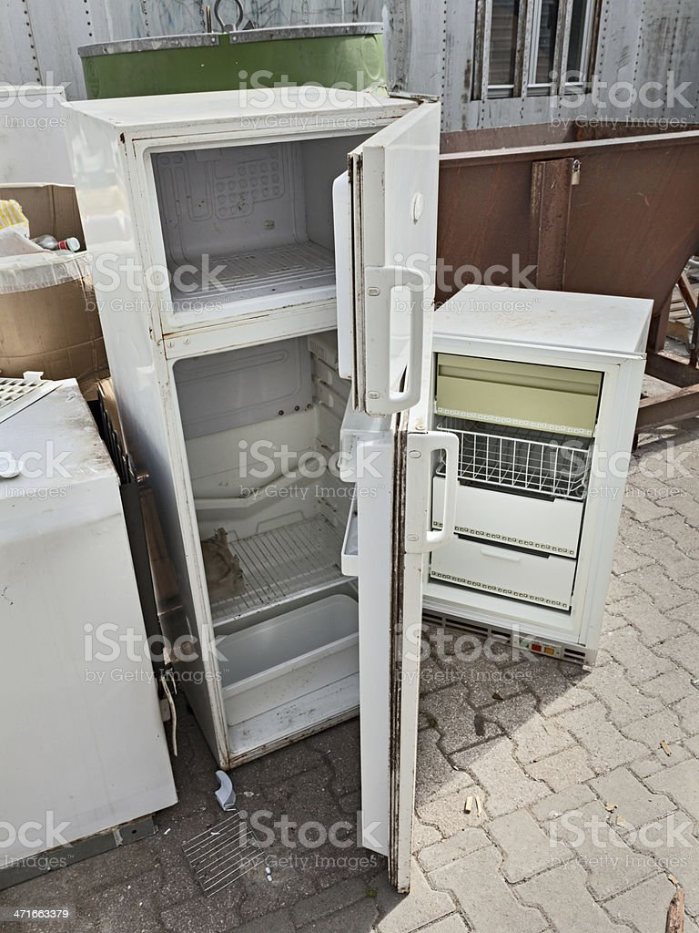 hazardous waste - fridges dump stock photo