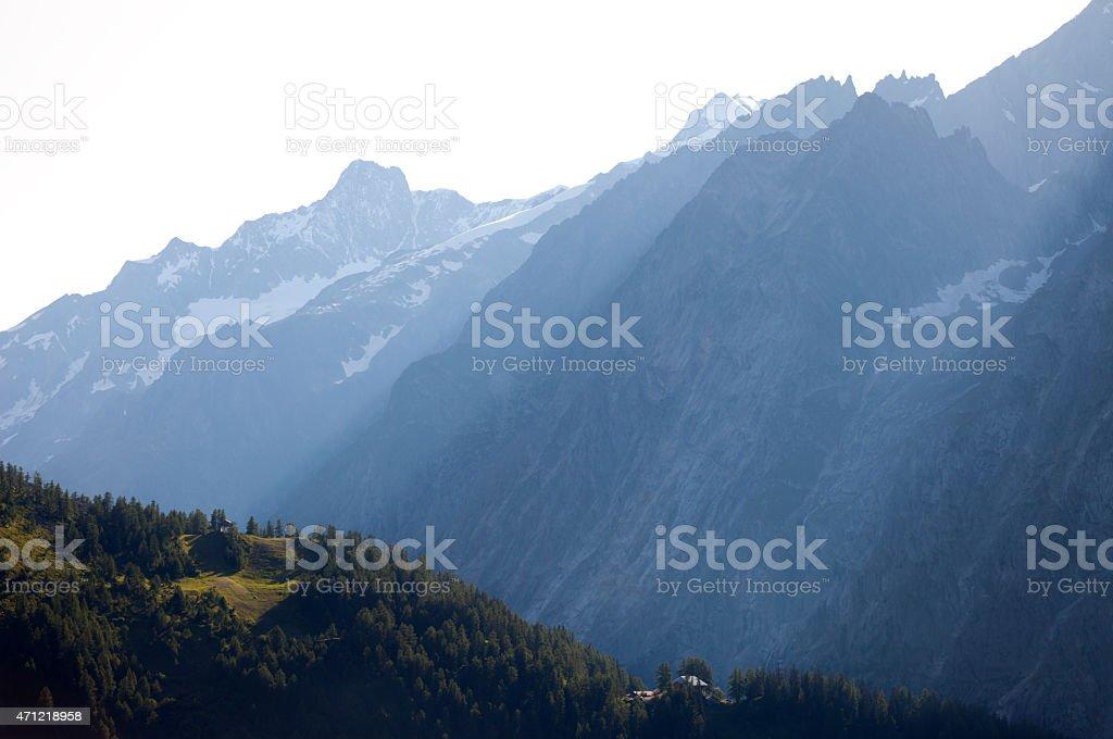 Haze, Mont Blanc Massif, Italy stock photo