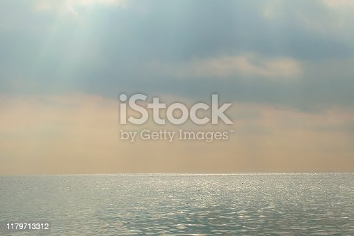 Haze over the sea. Muted colors. Pastel shades. Background.