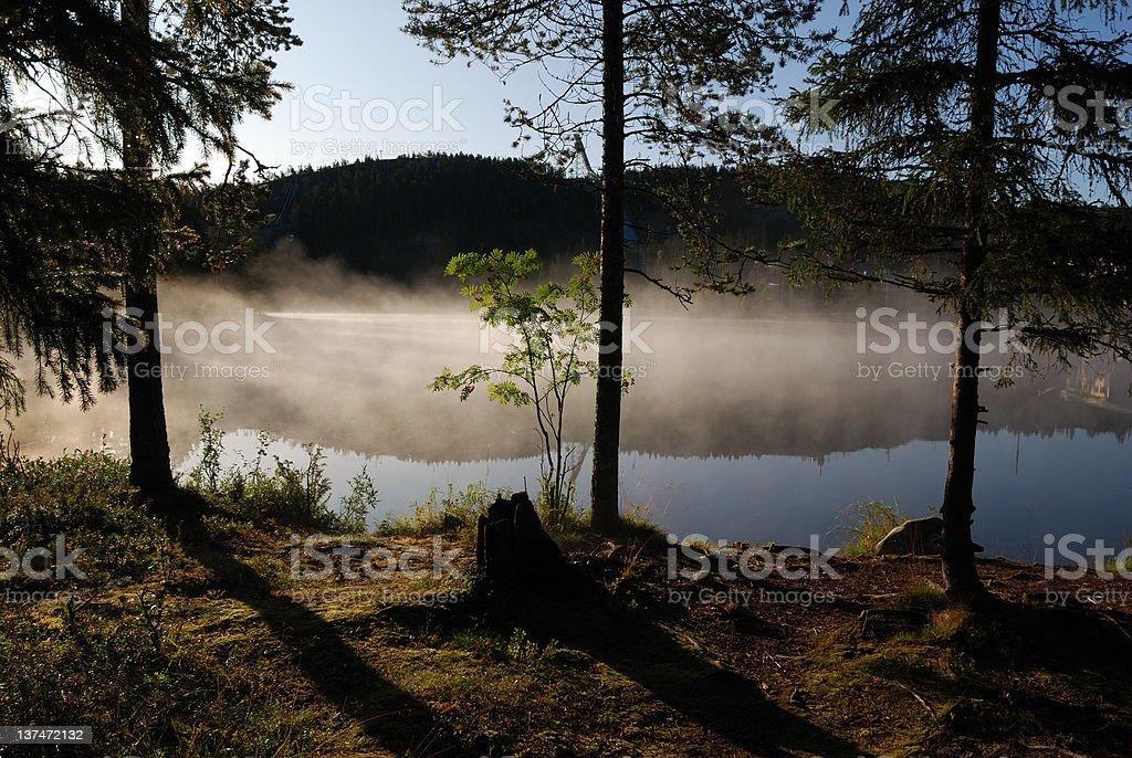 Haze pond stock photo