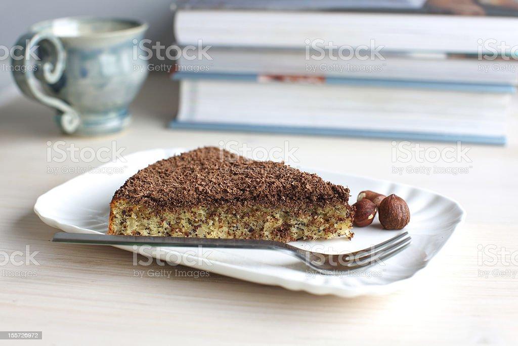 Hazelnut and chocolate slice of cake royalty-free stock photo
