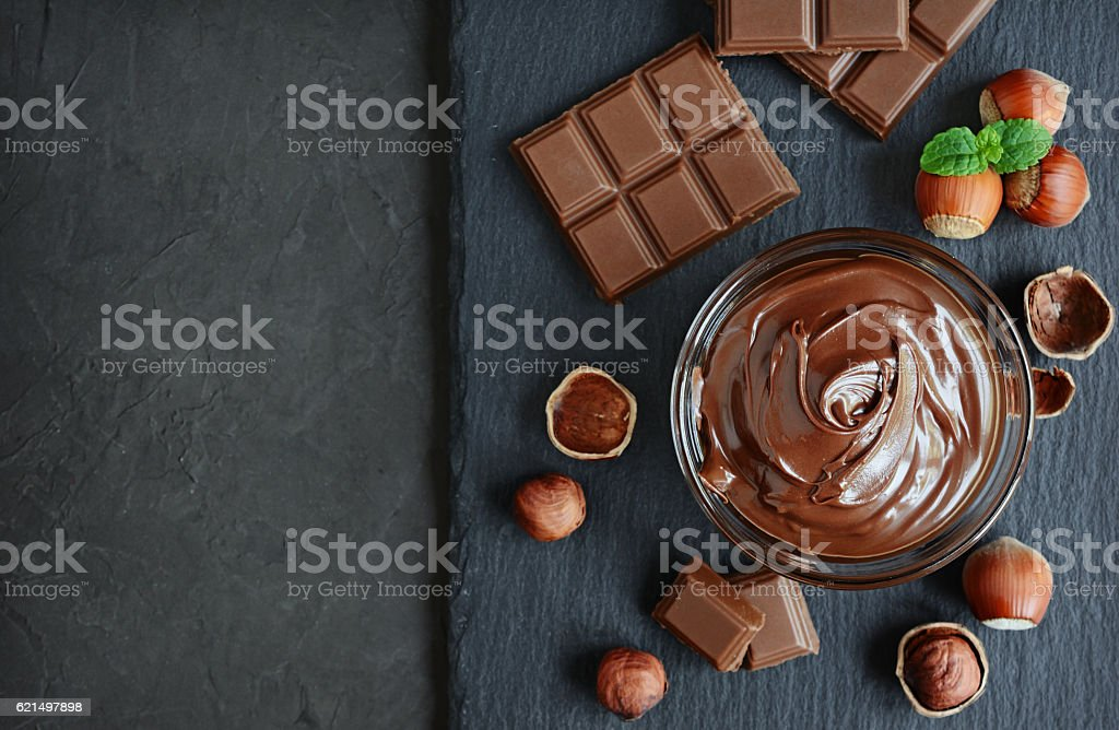Hazelnut chocolate spread stock photo