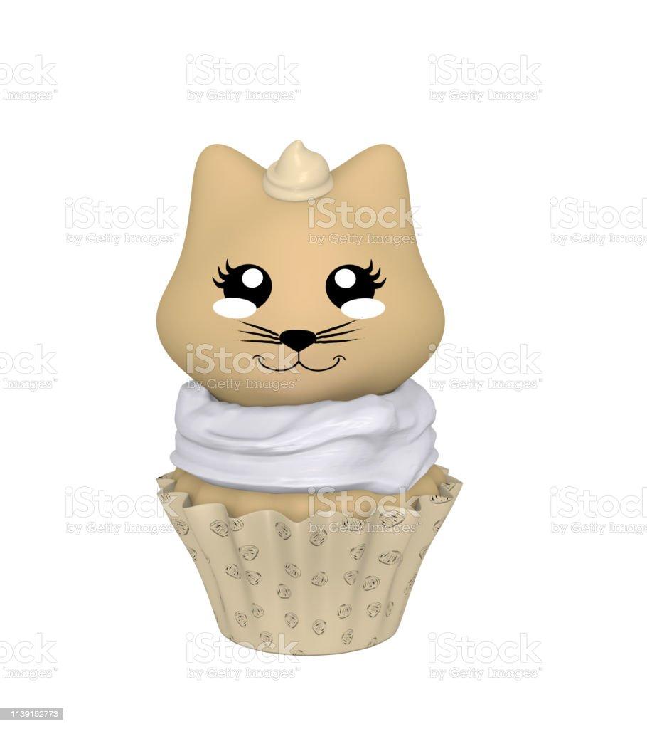 Haselnuss-Cupcake mit Kawaii-Stil. – Foto