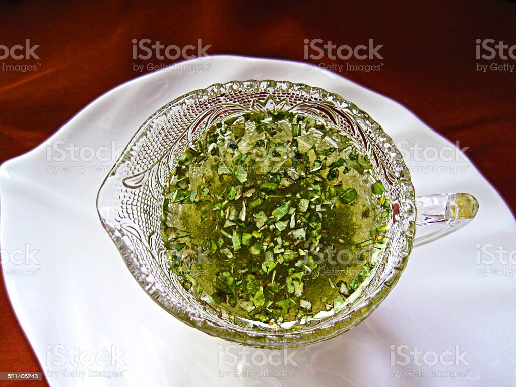 Hazelnut Oil & Herb Vinigrette stock photo