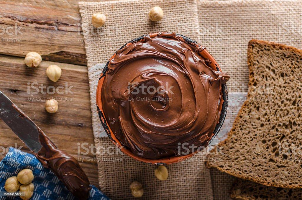 Hazelnut spread delicious stock photo