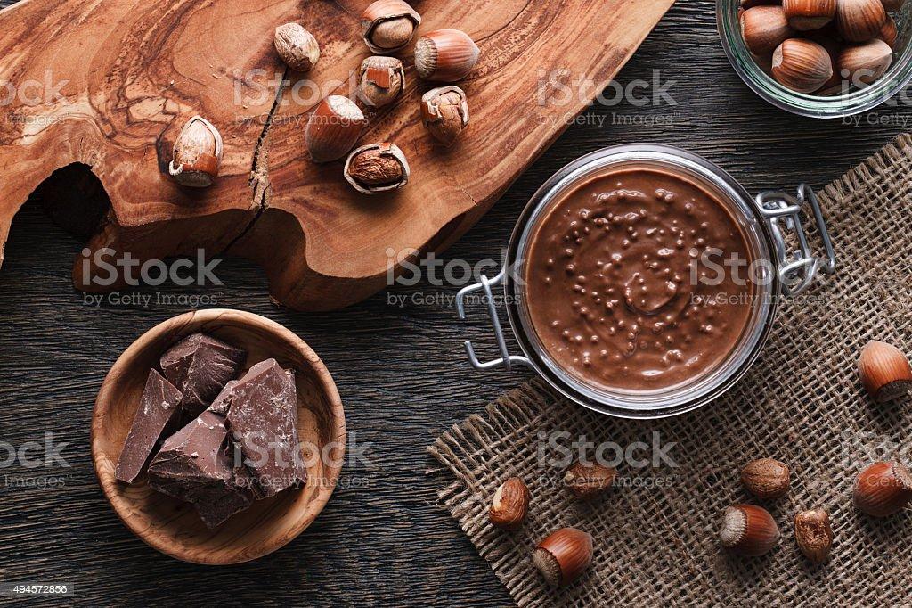 Hazelnut spread with nuts pieces stock photo