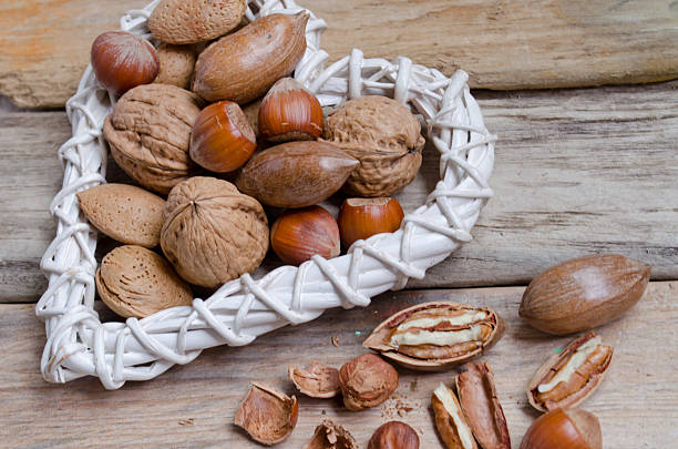 Hazelnuts, almonds  and  walnuts stock photo