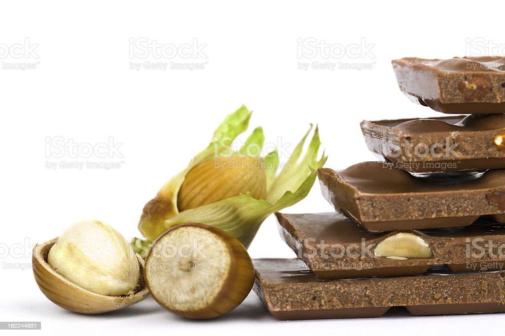 Hazelnuts and chocolate royalty-free stock photo