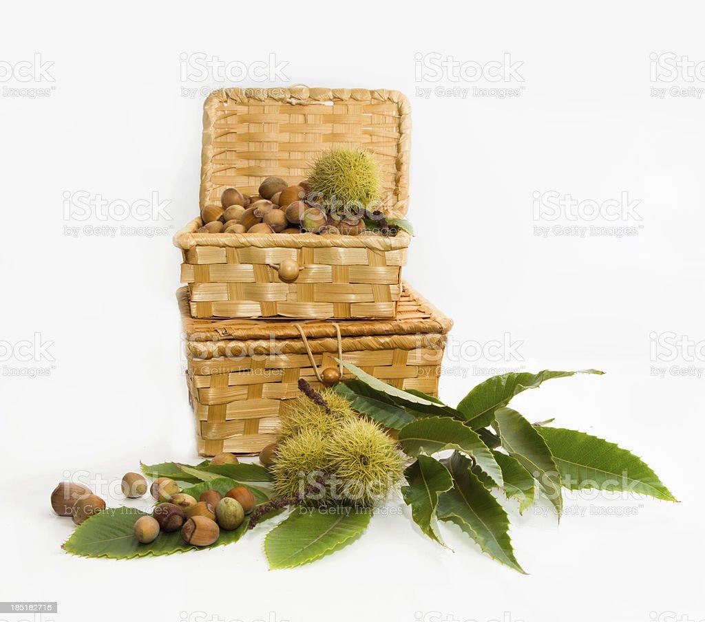 hazelnuts in a wicker basket royalty-free stock photo