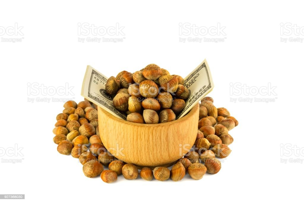 Hazelnuts nuts of Turkish hazel. The concept of hazelnut nuts as money earnings of dolars. Isolate on white background Hazelnuts nuts of Turkish hazel. The concept of hazelnut nuts as money earnings of dollars. Isolate on white background, copy space Agriculture Stock Photo