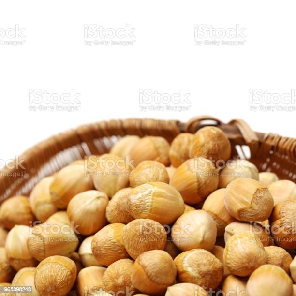 Hazelnuts On White Background - Fotografias de stock e mais imagens de Alimentação Saudável
