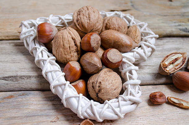 Hazeluts, almonds  and  walnuts stock photo