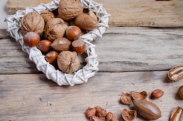 Hazeluts, almonds  and walnuts... stock photo
