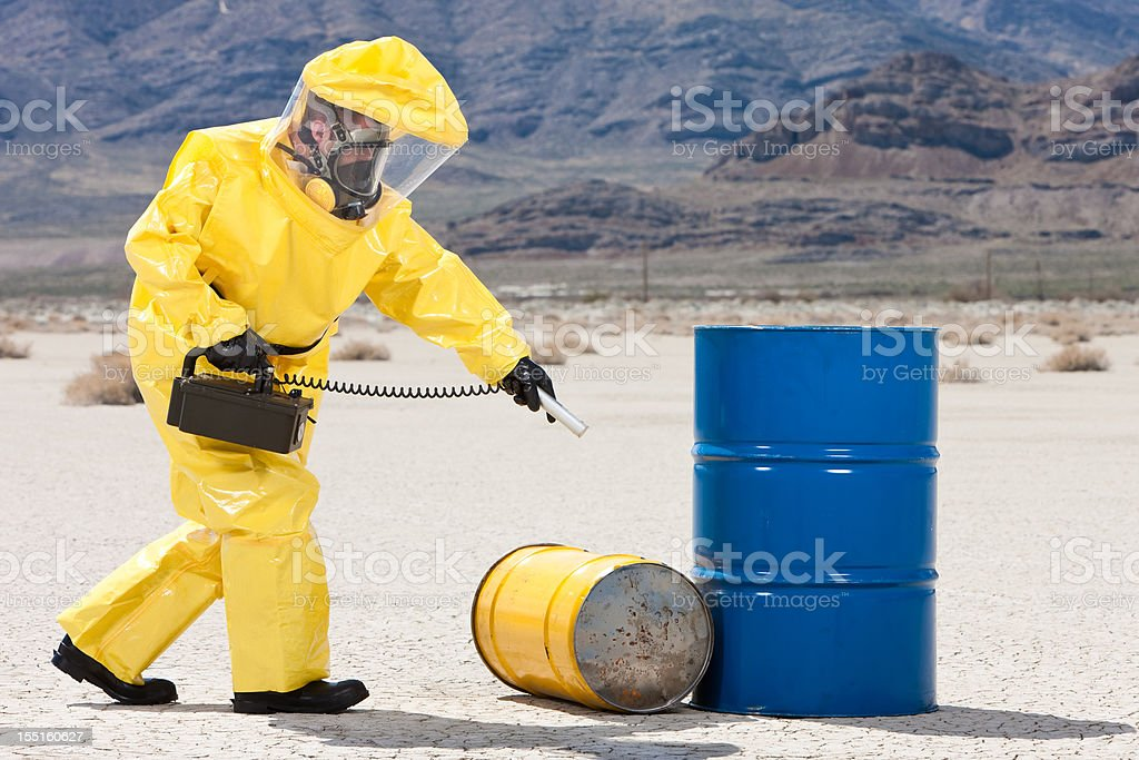 Hazmat Checking for Radioactive Leaks stock photo