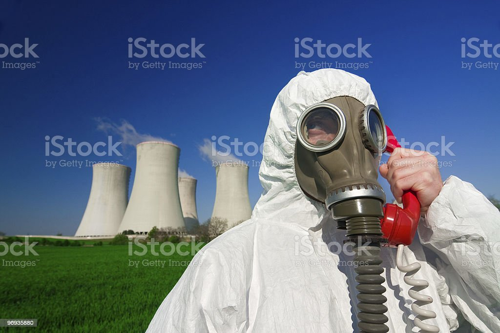 Hazmat man at nuclear station royalty-free stock photo