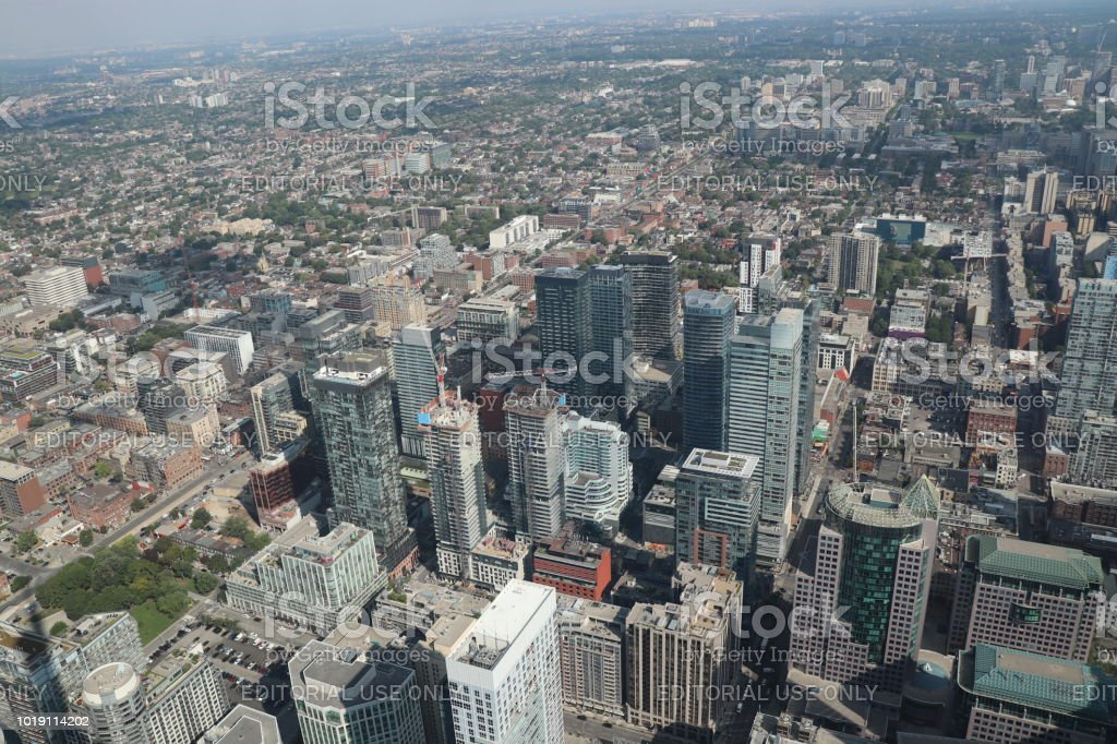 Hazy, Aerial View of Toronto - Downtown North stock photo