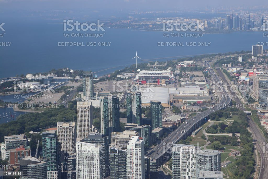 Hazy, Aerial View of Toronto - Downtown West stock photo