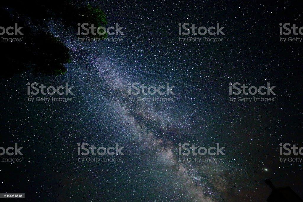 Hazy Luminous Band of the Milky Way at the Zenith stock photo