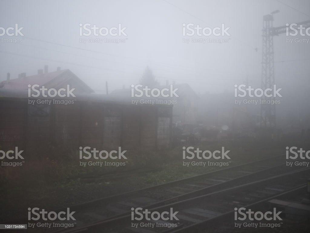 hazy morning at the train station at a tiny town south of the lake balaton, hungary – zdjęcie