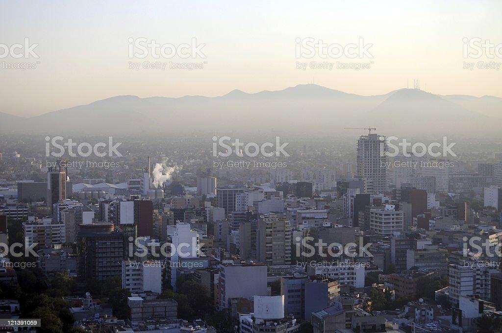 Hazy morning in Mexico City stock photo